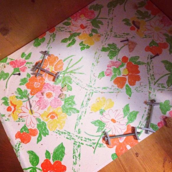 vintage flowered shelf paper